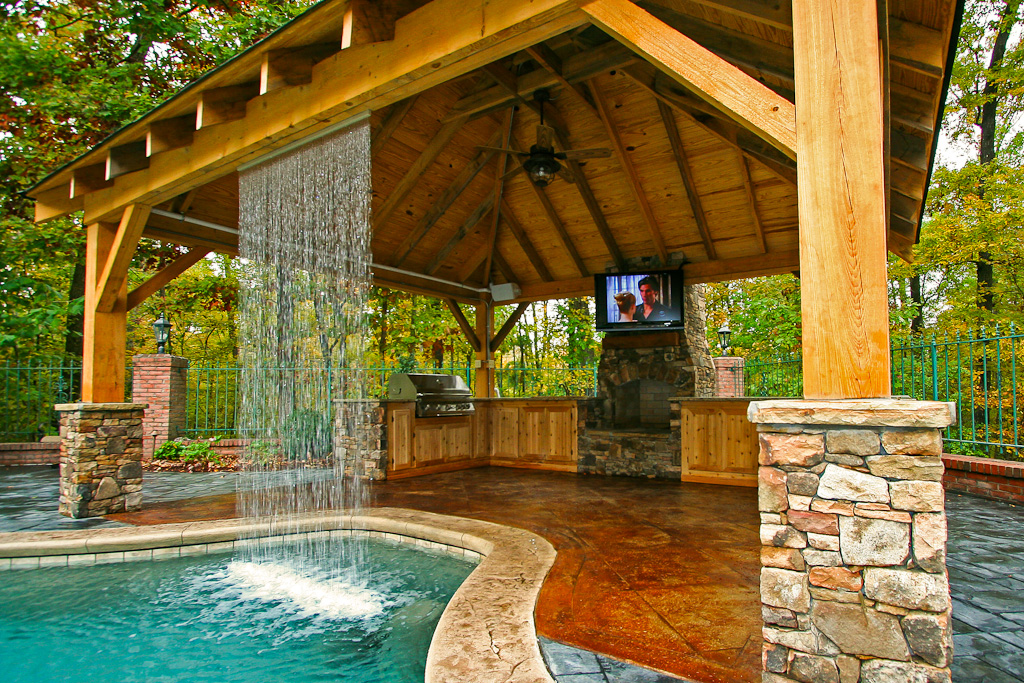 Outdoor living mid state pools for Pool house designs with outdoor kitchen